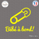 Sticker Bebe a bord epingle Sticks-em.fr Couleurs au choix