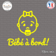 Sticker Bebe a bord visage fille Sticks-em.fr Couleurs au choix