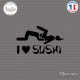Sticker JDM I Love Sushi Sticks-em.fr Couleurs au choix