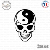 Sticker Tete de mort yin yang