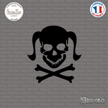 Sticker Tete de mort femme Girl Skull