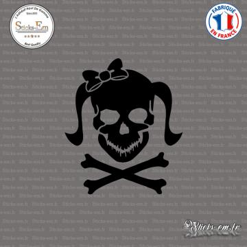 Sticker Tete de mort femme Girl Skull Noeud