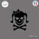 Sticker Tete de mort femme Girl Skull Noeud Sticks-em.fr Couleurs au choix