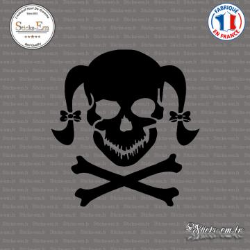 Sticker Tete de mort femme Girl Skull Couettes