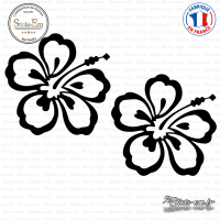 2 Stickers Hibiscus Flower Sticks-em.fr Couleurs au choix