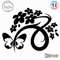 Sticker Floral Design with Butterfly Sticks-em.fr Couleurs au choix