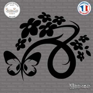 Sticker Floral Design with Butterfly