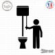 Sticker Toilettes homme et chasse d'eau