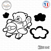 Sticker Ourson Aviateur Sticks-em.fr Couleurs au choix