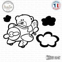 Sticker Ourson Aviateur Sticks-em.fr Couleurs au choix