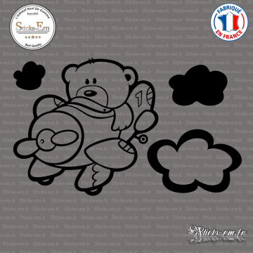 Sticker Ourson Aviateur