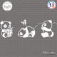 Sticker 3 petits pandas Sticks-em.fr Couleurs au choix