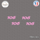 4 stickers Peugeot 106 Sticks-em.fr Couleurs au choix