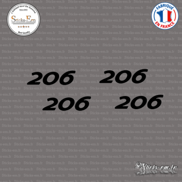 4 stickers Peugeot 206