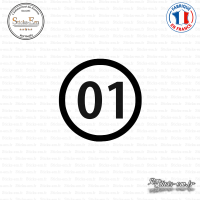 Sticker Département 01 Ain Auvergne Rhône Alpes Bourg en Bresse Sticks-em.fr Couleurs au choix