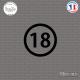 Sticker Département 18 Cher Bourges Centre-Val de Loire Sticks-em.fr Couleurs au choix