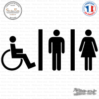 Sticker accès toilettes mixtes Sticks-em.fr Couleurs au choix