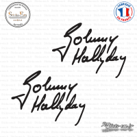 2 Stickers Signature Johnny Hallyday