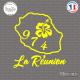 Sticker 974 La Réunion Hibiscus Flower Sticks-em.fr Couleurs au choix