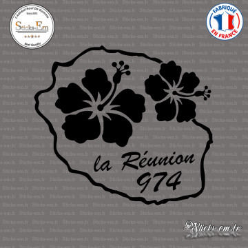 Sticker 974 La Reunion fleur hibiscus