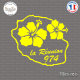Sticker 974 La Reunion fleur hibiscus Sticks-em.fr Couleurs au choix