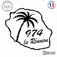 Sticker 974 La Reunion palmier Sticks-em.fr Couleurs au choix