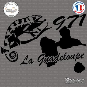 Sticker 971 guadeloupe cameleon