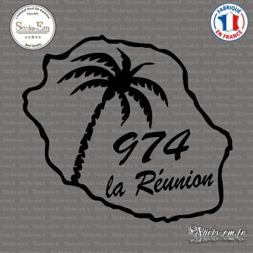 Sticker 974 La Reunion palmier