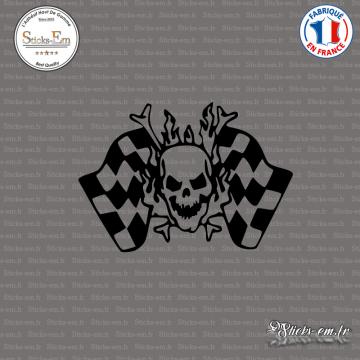 Sticker Tête de Mort Damier