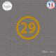 Sticker Département 29 Finistère Quimper Bretagne BZH Sticks-em.fr Couleurs au choix