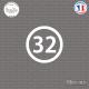 Sticker Département 32 Gers Auch Midi-Pyrénées Condom Sticks-em.fr Couleurs au choix