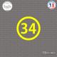Sticker Département 34 Hérault Montpellier Béziers Sticks-em.fr Couleurs au choix