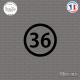 Sticker Département 36 Indre Châteauroux Centre-Val de Loire Sticks-em.fr Couleurs au choix