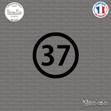 Sticker Département 37 Indre-et-Loire Tours Chinon Loches