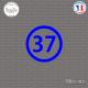 Sticker Département 37 Indre-et-Loire Tours Chinon Loches Sticks-em.fr Couleurs au choix