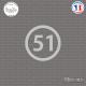 Sticker Département 51 Marne Châlons-en-Champagne Épernay Sticks-em.fr Couleurs au choix