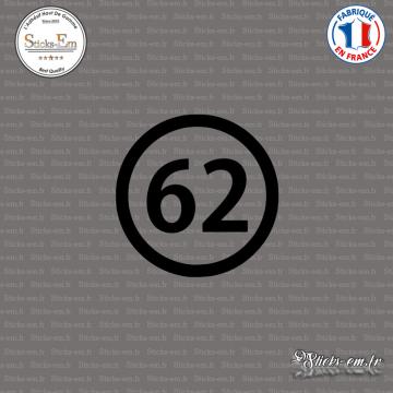 Sticker Département 62 Pas de Calais Nord Pas de Calais Picardie Arras
