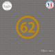 Sticker Département 62 Pas de Calais Nord Pas de Calais Picardie Arras Sticks-em.fr Couleurs au choix