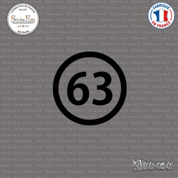 Sticker Département 63 Puy de Dôme Auvergne Rhône Alpes Clermont Ferrand