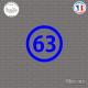 Sticker Département 63 Puy de Dôme Auvergne Rhône Alpes Clermont Ferrand Sticks-em.fr Couleurs au choix
