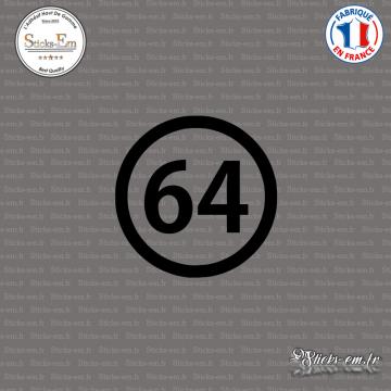 Sticker Département 64 Pyrénées Atlantiques Aquitaine Limousin Poitou Charentes Pau