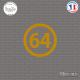 Sticker Département 64 Pyrénées Atlantiques Aquitaine Limousin Poitou Charentes Pau Sticks-em.fr Couleurs au choix