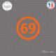 Sticker Département 69 Rhône Auvergne Rhône Alpes Lyon Sticks-em.fr Couleurs au choix