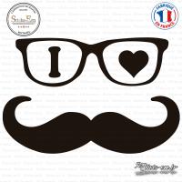 Sticker I Love Moustache Grand Format Sticks-em.fr Couleurs au choix
