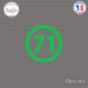 Sticker Département 71 Saône et Loire Bourgogne Franche Comté Mâcon Sticks-em.fr Couleurs au choix