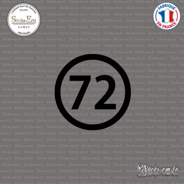 Sticker Département 72 Sarthe Pays de la Loire Le Mans