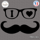 Sticker I Love Moustache Grand Format Sticks-em.fr Couleurs au choix