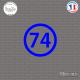 Sticker Département 74 Haute Savoie Auvergne Rhône Alpes Annecy Sticks-em.fr Couleurs au choix