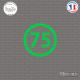 Sticker Département 75 Paris Ile de France Paris Sticks-em.fr Couleurs au choix