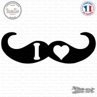 Sticker I Love Moustache Sticks-em.fr Couleurs au choix